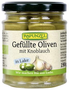 Oliven grün, gefüllt mit Knoblauch in Lake