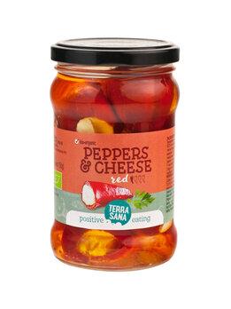 Rote Peperoni mit Käsefüllung