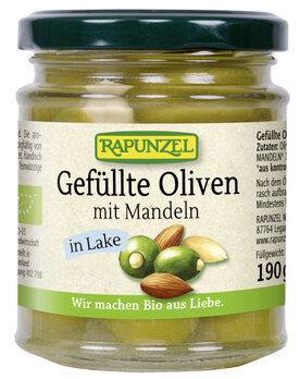 Oliven grün, gefüllt mit Mandeln in Lake
