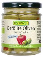Oliven grün, gefüllt mit Paprika in Lake